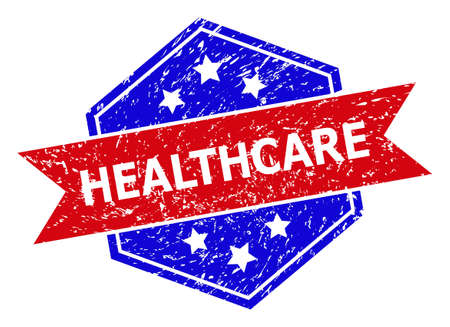Hexagonal HEALTHCARE stamp seal. Flat vector blue and red bicolor distress rubber stamp with HEALTHCARE slogan inside hexagon shape, ribbon used. Rubber imitation with grunged style,