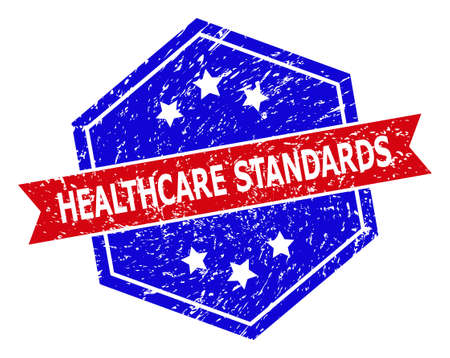 Hexagon HEALTHCARE STANDARDS seal stamp. Flat vector blue and red bicolor textured rubber stamp with HEALTHCARE STANDARDS text inside hexagoanl shape, ribbon is used also.