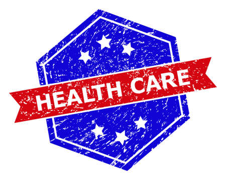 Hexagon HEALTH CARE stamp seal. Flat vector red and blue bicolor textured seal stamp with HEALTH CARE slogan inside hexagon shape, ribbon used also. Rubber imitation with grunged surface,