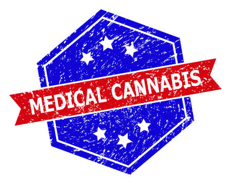 Hexagon MEDICAL CANNABIS stamp seal. Flat vector red and blue bicolor textured seal stamp with MEDICAL CANNABIS tag inside hexagon form, ribbon is used also. Rubber imitation with grunged texture,