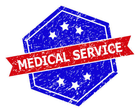 Hexagonal MEDICAL SERVICE stamp seal. Flat vector blue and red bicolor scratched seal stamp with MEDICAL SERVICE phrase inside hexagon form, ribbon is used also. Rubber imitation with grunged texture,