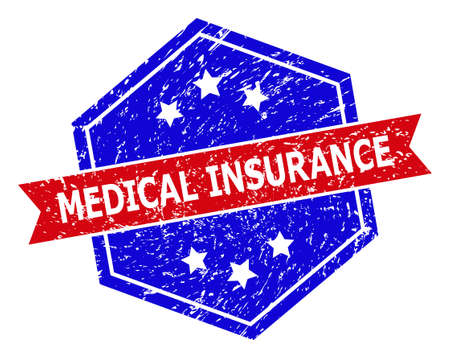 Hexagon MEDICAL INSURANCE seal stamp. Flat vector blue and red bicolor scratched rubber stamp with MEDICAL INSURANCE title inside hexagon form, ribbon is used. Rubber imitation with corroded style,