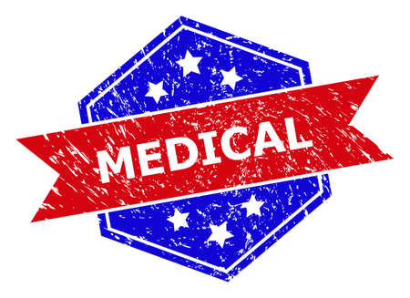 Hexagon MEDICAL seal. Flat vector red and blue bicolor scratched rubber stamp with MEDICAL message inside hexagoanl shape, ribbon used also. Rubber imitation with scratched texture,