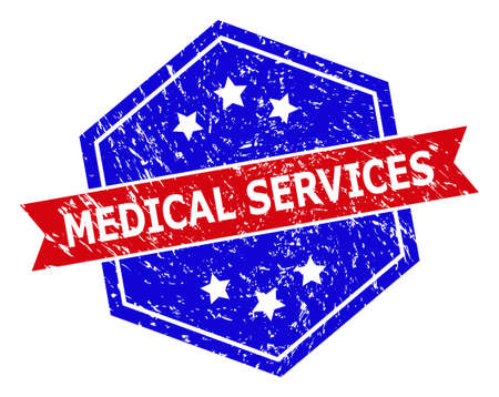 Hexagon MEDICAL SERVICES stamp. Flat vector blue and red bicolor scratched seal stamp with MEDICAL SERVICES title inside hexagon form, ribbon is used also. Rubber imitation with unclean texture,