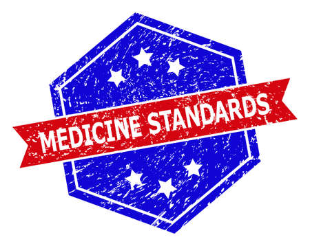 Hexagon MEDICINE STANDARDS seal stamp. Flat vector red and blue bicolor distress seal stamp with MEDICINE STANDARDS caption inside hexagon form, ribbon used. Imprint with unclean style,  イラスト・ベクター素材