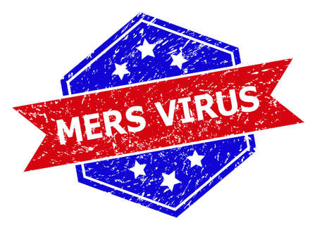 Hexagon MERS VIRUS watermark. Flat vector red and blue bicolor textured watermark with MERS VIRUS phrase inside hexagon shape, ribbon is used also. Rubber imitation with corroded texture,  イラスト・ベクター素材