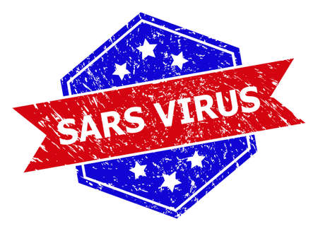 Hexagonal SARS VIRUS seal stamp. Flat vector blue and red bicolor scratched seal stamp with SARS VIRUS tag inside hexagon shape, ribbon is used also. Rubber imitation with grunged style,