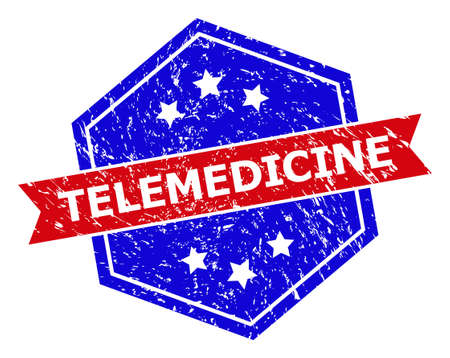 Hexagonal TELEMEDICINE stamp seal. Flat vector blue and red bicolor scratched seal with TELEMEDICINE slogan inside hexagoanl shape, ribbon is used. Watermark with scratched texture,