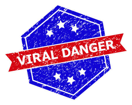 Hexagon VIRAL DANGER seal stamp. Flat vector blue and red bicolor scratched stamp with VIRAL DANGER slogan inside hexagoanl form, ribbon used. Rubber imitation with scratched texture,