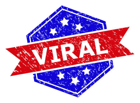 Hexagon VIRAL stamp. Flat vector blue and red bicolor grunge rubber stamp with VIRAL message inside hexagon form, ribbon used also. Rubber imitation with distress texture, on a white background.