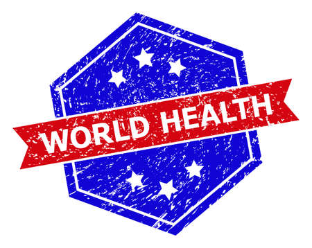 Hexagonal WORLD HEALTH seal stamp. Flat vector blue and red bicolor distress seal stamp with WORLD HEALTH message inside hexagoanl shape, ribbon used also. Imprint with unclean style,