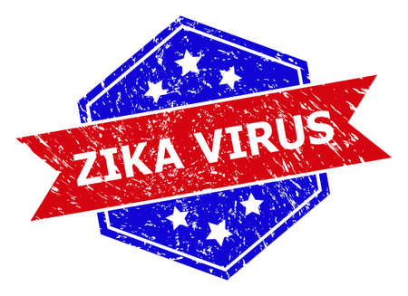 Hexagon ZIKA VIRUS stamp seal. Flat vector red and blue bicolor grunge seal stamp with ZIKA VIRUS caption inside hexagon shape, ribbon used also. Imprint with corroded style, on a white background.  イラスト・ベクター素材
