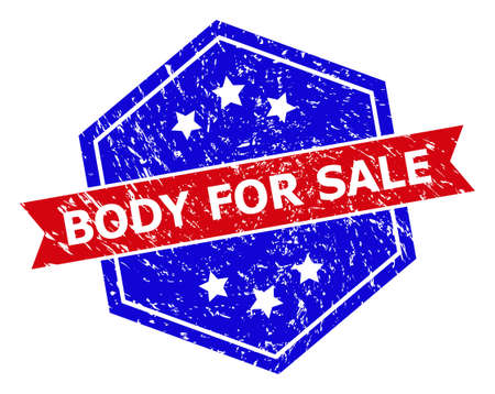Hexagon BODY FOR SALE seal stamp. Flat vector red and blue bicolor distress seal with BODY FOR SALE tag inside hexagon shape, ribbon used also. Rubber imitation with unclean style,
