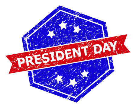 Hexagonal PRESIDENT DAY seal stamp. Flat vector red and blue bicolor distress seal stamp with PRESIDENT DAY phrase inside hexagonal form, ribbon used. Rubber imitation with corroded texture,