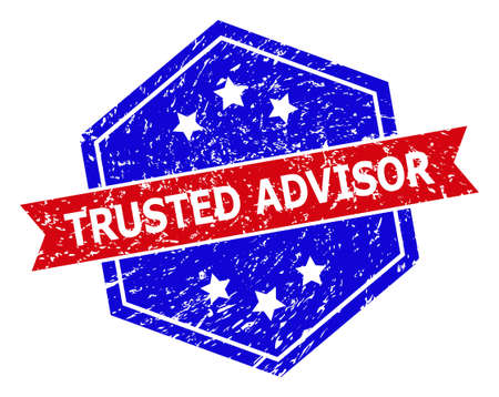 Hexagon TRUSTED ADVISOR stamp seal. Flat vector red and blue bicolor textured seal with TRUSTED ADVISOR caption inside hexagon form, ribbon is used also. Watermark with unclean texture,
