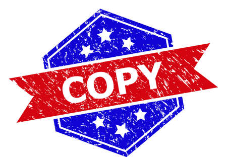 Hexagon COPY seal stamp. Flat vector blue and red bicolor scratched rubber stamp with COPY text inside hexagon shape, ribbon is used also. Watermark with corroded style, on a white background.