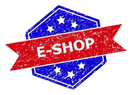 Hexagon E-SHOP stamp. Flat vector red and blue bicolor distress seal stamp with E-SHOP phrase inside hexagon form, ribbon is used. Imprint with corroded surface, on a white background.