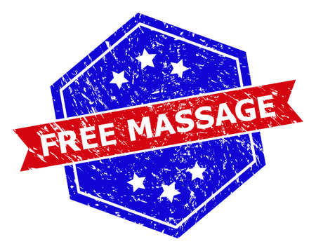 Hexagon FREE MASSAGE stamp. Flat vector blue and red bicolor textured watermark with FREE MASSAGE phrase inside hexagon form, ribbon is used also. Watermark with grunge surface, on a white background. 向量圖像