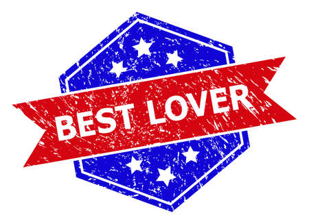 Hexagon BEST LOVER stamp seal. Flat vector red and blue bicolor distress watermark with BEST LOVER phrase inside hexagon form, ribbon is used. Watermark with unclean texture, on a white background.
