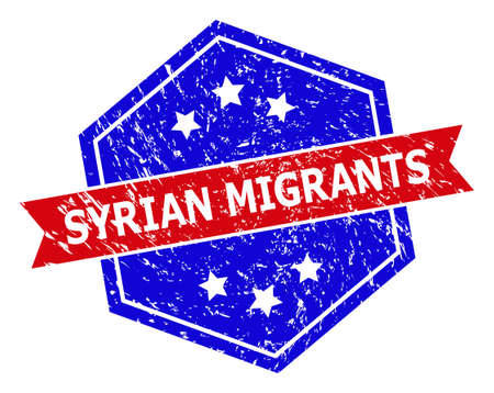 Hexagonal SYRIAN MIGRANTS seal stamp. Flat vector red and blue bicolor textured seal stamp with SYRIAN MIGRANTS slogan inside hexagoanl shape, ribbon used also. Rubber imitation with corroded texture,