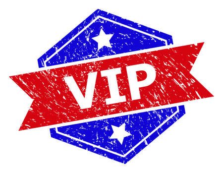 Hexagonal VIP watermark. Flat vector blue and red bicolor grunge seal stamp with VIP text inside hexagon shape, ribbon is used. Watermark with scratched texture, on a white background.