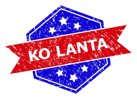 Hexagon KO LANTA seal. Flat vector red and blue bicolor scratched seal stamp with KO LANTA text inside hexagon form, ribbon is used. Watermark with corroded surface, on a white background. Ilustracje wektorowe