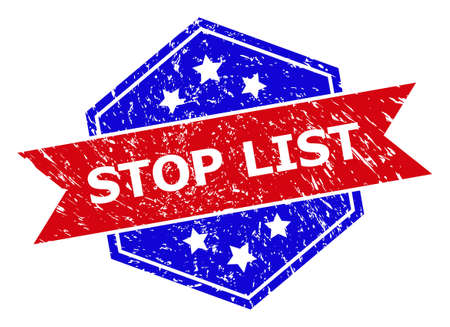 Hexagonal STOP LIST seal stamp. Flat vector red and blue bicolor grunge rubber stamp with STOP LIST text inside hexagoanl shape, ribbon used. Rubber imitation with grunge style, on a white background.