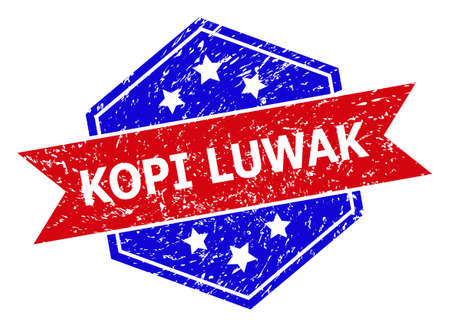Hexagon KOPI LUWAK stamp. Flat vector blue and red bicolor grunge stamp with KOPI LUWAK slogan inside hexagon form, ribbon used also. Imprint with grunge surface, on a white background.