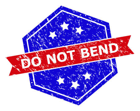 Hexagon DO NOT BEND stamp. Flat vector blue and red bicolor distress rubber stamp with DO NOT BEND tag inside hexagon form, ribbon used. Watermark with corroded surface, on a white background.