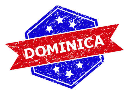 Hexagonal DOMINICA stamp seal. Flat vector blue and red bicolor textured rubber stamp with DOMINICA title inside hexagoanl form, ribbon used also. Rubber imitation with unclean texture,