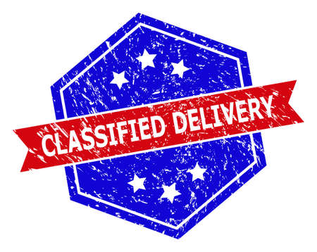 Hexagonal CLASSIFIED DELIVERY watermark. Flat vector red and blue bicolor grunge watermark with CLASSIFIED DELIVERY phrase inside hexagoanl form, ribbon is used also. Watermark with grunge style,