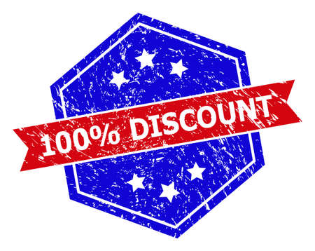Hexagon 100% DISCOUNT seal stamp. Flat vector blue and red bicolor grunge seal stamp with 100% DISCOUNT slogan inside hexagonal shape, ribbon is used. Rubber imitation with scratched surface,