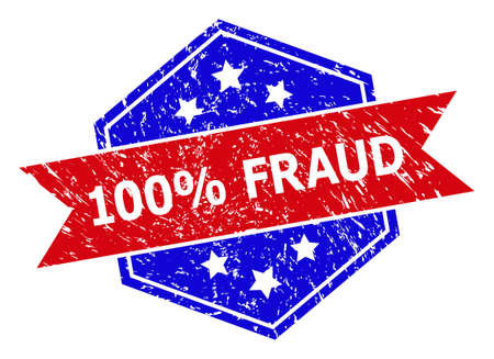 Hexagonal 100% FRAUD seal stamp. Flat vector blue and red bicolor grunge seal stamp with 100% FRAUD slogan inside hexagoanl shape, ribbon used. Rubber imitation with scratched texture,