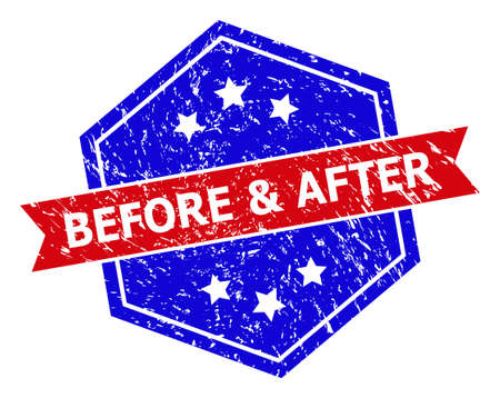 Hexagon BEFORE & AFTER seal stamp. Flat vector blue and red bicolor scratched watermark with BEFORE & AFTER tag inside hexagoanl form, ribbon is used also. Watermark with corroded surface,