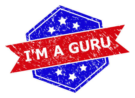 Hexagonal IM A GURU stamp seal. Flat vector red and blue bicolor grunge seal with IM A GURU phrase inside hexagon shape, ribbon is used. Watermark with grunge style, on a white background.
