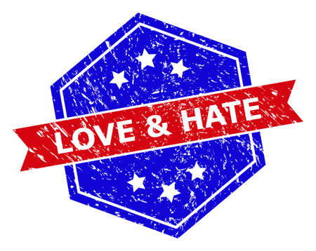 Hexagon LOVE & HATE seal stamp. Flat vector red and blue bicolor scratched seal stamp with LOVE & HATE text inside hexagon shape, ribbon used. Watermark with corroded texture, on a white background.  イラスト・ベクター素材