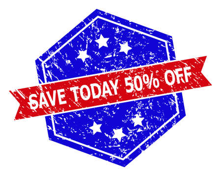Hexagon SAVE TODAY 50% OFF stamp. Flat vector blue and red bicolor distress seal stamp with SAVE TODAY 50% OFF message inside hexagon shape, ribbon is used. Rubber imitation with distress style, Ilustração Vetorial