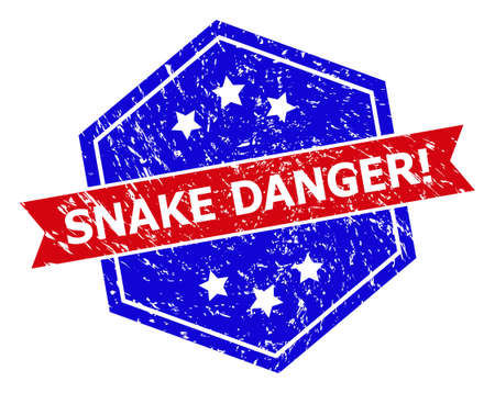 Hexagon SNAKE DANGER! stamp seal. Flat vector red and blue bicolor scratched seal stamp with SNAKE DANGER! tag inside hexagon form, ribbon is used. Watermark with grunge texture,