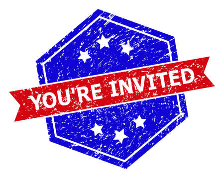 Hexagonal YOURE INVITED seal stamp. Flat vector red and blue bicolor scratched seal stamp with YOURE INVITED phrase inside hexagon form, ribbon used. Watermark with corroded texture,