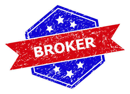 Hexagon BROKER seal stamp. Flat vector red and blue bicolor grunge seal with BROKER caption inside hexagon form, ribbon is used also. Watermark with scratched texture, on a white background.