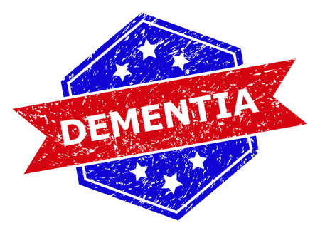 Hexagon DEMENTIA seal stamp. Flat vector red and blue bicolor textured seal stamp with DEMENTIA tag inside hexagon shape, ribbon is used also. Rubber imitation with grunged texture, Vector Illustratie