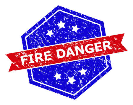 Hexagon FIRE DANGER stamp. Flat vector blue and red bicolor scratched rubber stamp with FIRE DANGER tag inside hexagon form, ribbon used also. Imprint with scratched texture, on a white background.