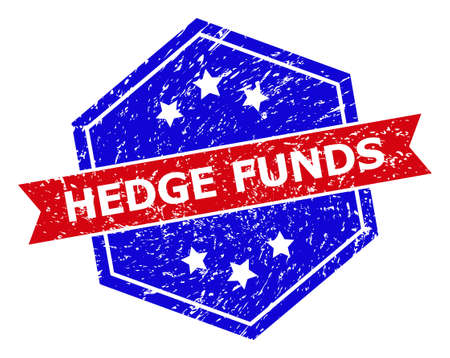 Hexagon HEDGE FUNDS stamp. Flat vector red and blue bicolor distress rubber stamp with HEDGE FUNDS phrase inside hexagon shape, ribbon used. Rubber imitation with grunged surface,