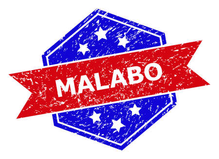 Hexagon MALABO stamp seal. Flat vector blue and red bicolor grunge rubber stamp with MALABO title inside hexagon form, ribbon is used. Imprint with unclean texture, on a white background. 向量圖像