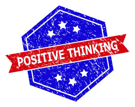 Hexagon POSITIVE THINKING stamp. Flat vector red and blue bicolor distress rubber stamp with POSITIVE THINKING message inside hexagon form, ribbon is used. Rubber imitation with corroded texture,