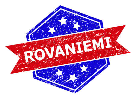 Hexagon ROVANIEMI seal. Flat vector blue and red bicolor scratched rubber stamp with ROVANIEMI phrase inside hexagon shape, ribbon is used also. Rubber imitation with grunged surface,