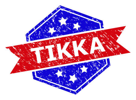 Hexagon TIKKA seal. Flat vector red and blue bicolor scratched seal with TIKKA phrase inside hexagon shape, ribbon is used also. Watermark with grunge style, on a white background.