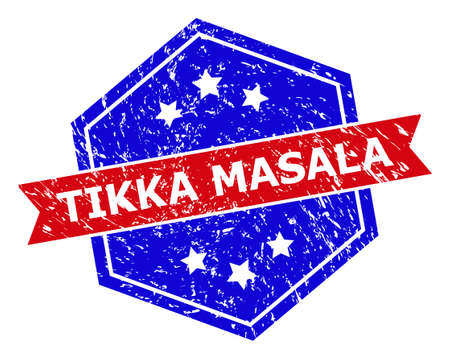 Hexagonal TIKKA MASALA stamp. Flat vector red and blue bicolor textured rubber stamp with TIKKA MASALA tag inside hexagoanl shape, ribbon used also. Rubber imitation with scratched surface,