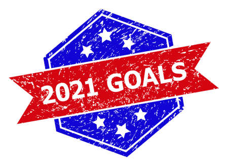 Hexagon 2021 GOALS seal stamp. Flat vector red and blue bicolor scratched seal with 2021 GOALS caption inside hexagon shape, ribbon used. Rubber imitation with scratched texture,