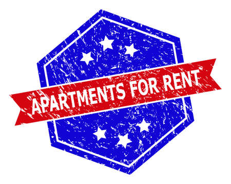 Hexagonal APARTMENTS FOR RENT stamp seal. Flat vector red and blue bicolor scratched seal with APARTMENTS FOR RENT title inside hexagoanl form, ribbon is used also. Watermark with grunge style,